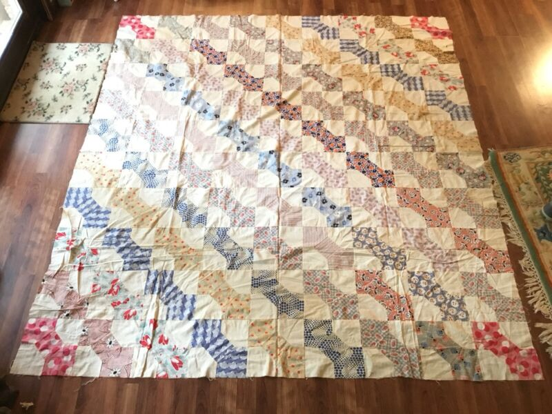 Fantastic Vintage Bow tie Quilt Top Antique Feed Sack Material 74x82 Fun Look!