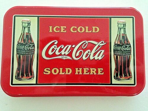 Coca Cola 2 Decks of Playing Cards In Collectable Tin Can VGC Free Shipping