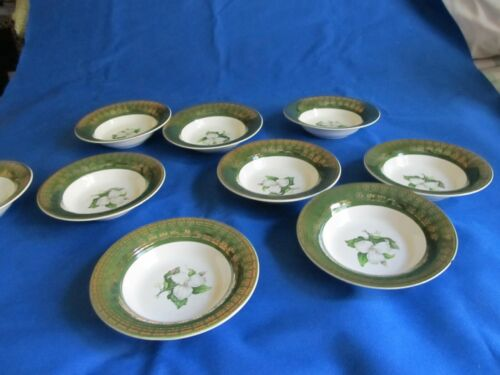 LIMOGES-AMERICAN L TRIOMPHE Berry Bowls (9) Trillium Forest Green Filigree  1082