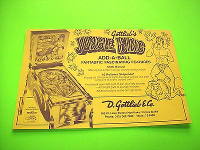 Gottlieb JUNGLE KING Original 1973 NOS Pinball Machine Promo Postcard Flyer