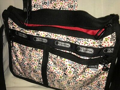 Deluxe Zippered Tote Bag - LESPORTSAC SNOOPY PEANUTS Happiness Dots NWT DELUXE EVERYDAY tote bag purse