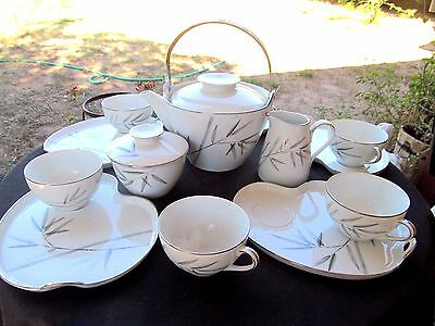 NORITAKE JAPAN BAMBINA TEA BAMBOO SET POT,CREAMER SUGAR BOWL 5 PLATES 6 CUPS
