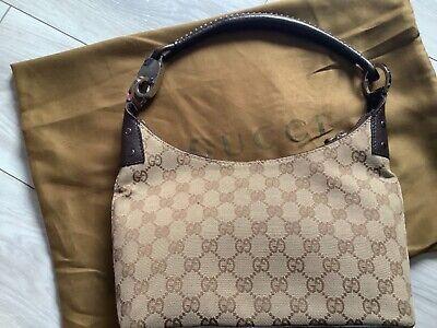 Gucci Small HoboShoulder Bag Purse Leather Canvas Guccissima 90's Vtg