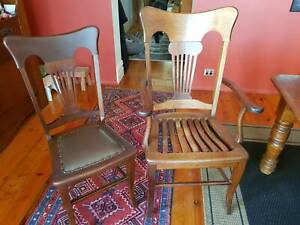 1920's  Set 6 Dining chairs and 2 Carvers