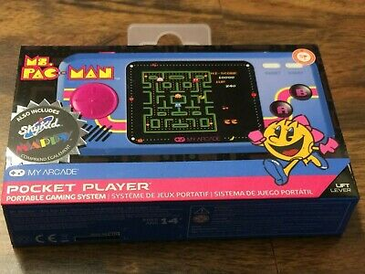 My Arcade Official Ms PAC MAN Pocket Player Handheld Retro Video Game. 3 games