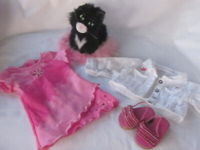 American Girl Doll Licorice Cat Pillow + Best Friend Outfit Jacket Dress Shoes
