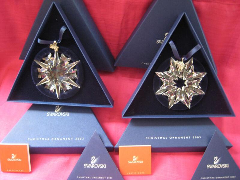 Swarovski L.E.Ornaments for 2002 & 2003 MIB  MINT NEVER DISPLAYED