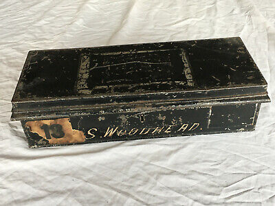 Victorian Very Long Metal Deed Box Safe Deposit Strongbox with Handles 40cm Wide