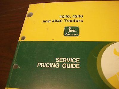John Deere 4040 4240 4440 Tractors Service Price Guide