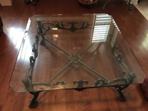 Medal glass coffee table and 2 end tables