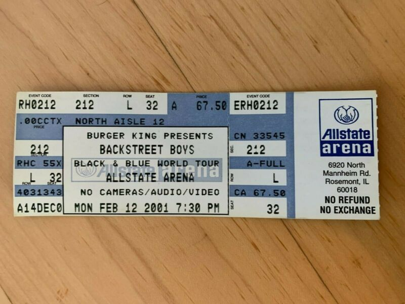BACKSTREET BOYS 2001 TICKET (ALLSTATE ARENA - CHICAGO)