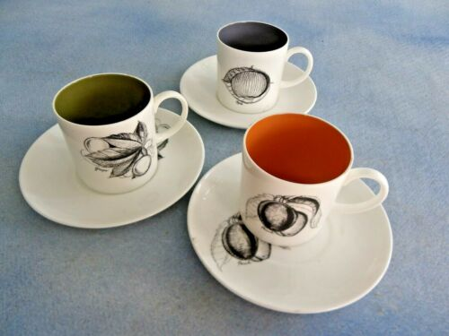 3 Susie Cooper Black Fruit Apple Grape & Peach Demitasse Flat Cup & Saucers