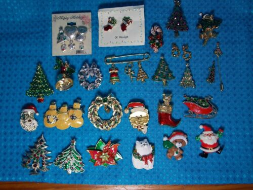 Lot Collectable Holiday Christmas Brooches Pins Earrings 1 Disney