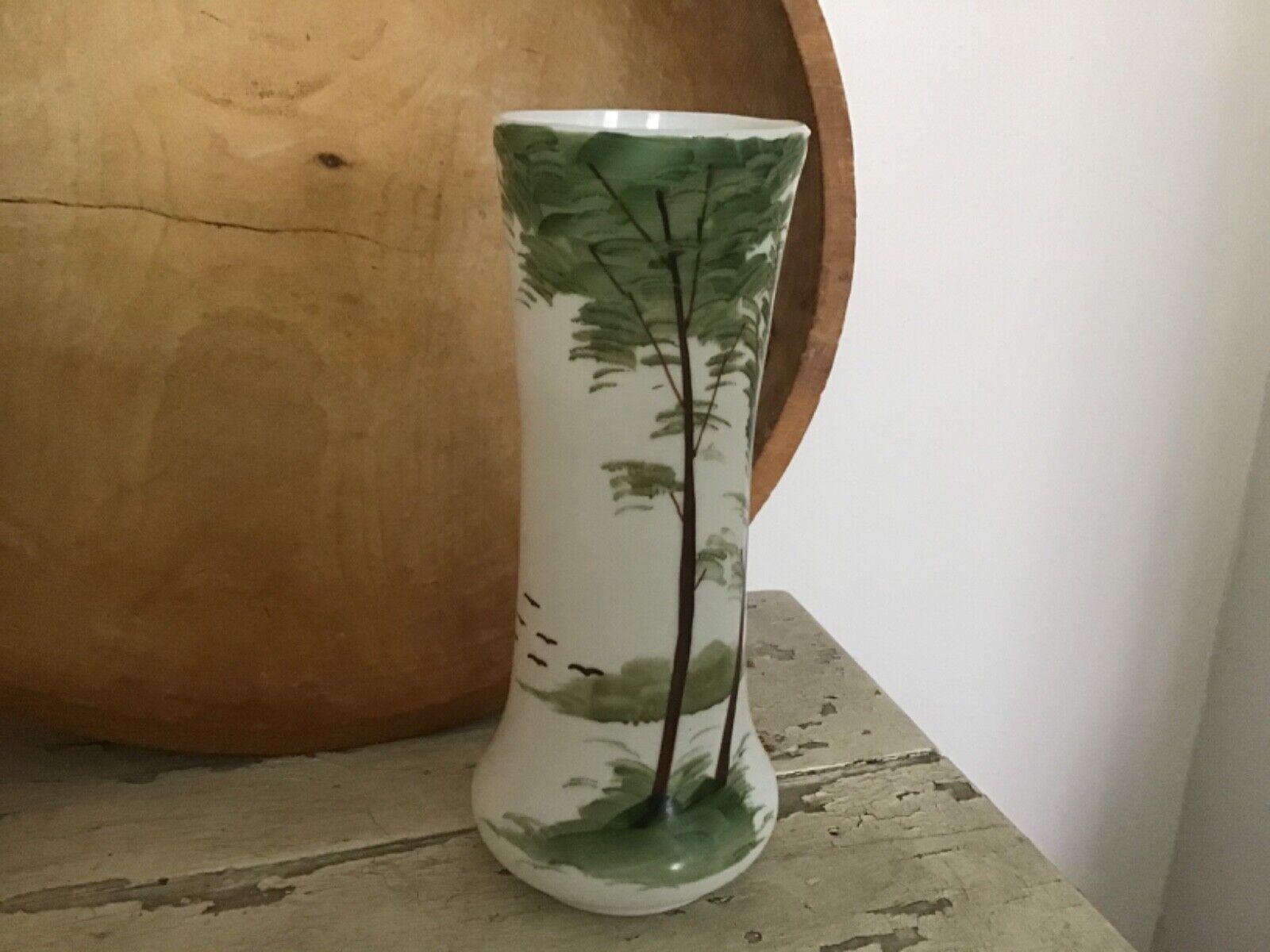 BrIstol Glass Victorian Hand Blown Hand Painted Vase EUC  - $11.50