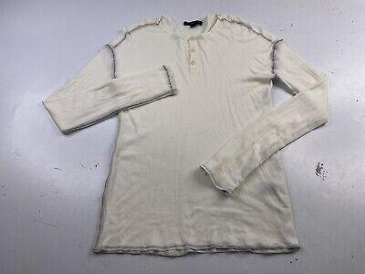 John Varvatos Star USA Men's White Ribbed Pima Cotton L/S Henley Shirt Medium