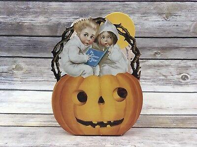 Childrens Halloween Gift Baskets (Vintage 1989 The Gift Line Halloween Retro Basket Gift Box Pumpkin)