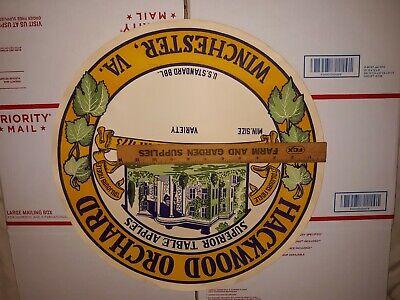 Vintage Hackwood Orchard Winchester, Va. Superior Apples Lithograph Barrel Label