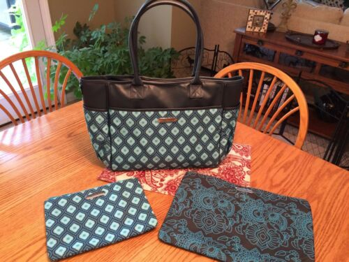 New TUPPERWARE 3 Pc Tote Bag & Zipper Pouches Collection, Blue Constultant Award