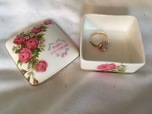 Happy Anniversary Fine Bone China ring / jewellery box