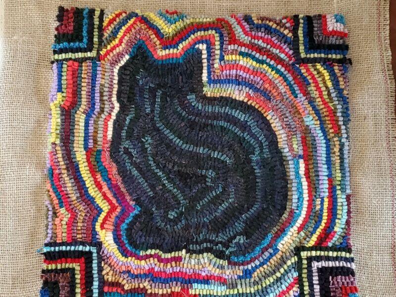 """Rug Hooking Pattern Kit W/ Wool #5 or 8, Scrap Folk Art Primitive Cat 10"""" x 10"""""""