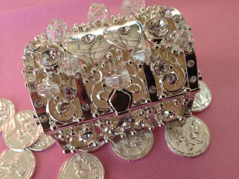 Wedding Arras Silver Plated /Unity Coins/ Treasure Chest Keepsake Arras De Boda