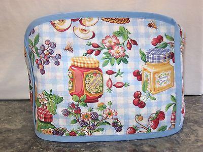 Jars Jam Jelly Apple Lemon cotton fabric Handmade 2 slice toaster cover (ONLY)
