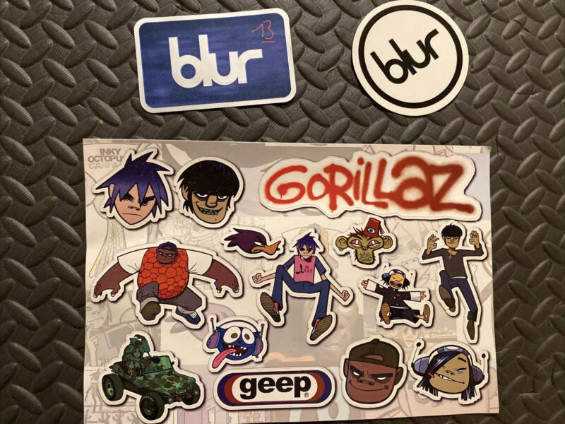 """Gorillaz + Blur Promo Only Stickers, Die-Cut, 10.5""""x7"""", Excellent Condition"""