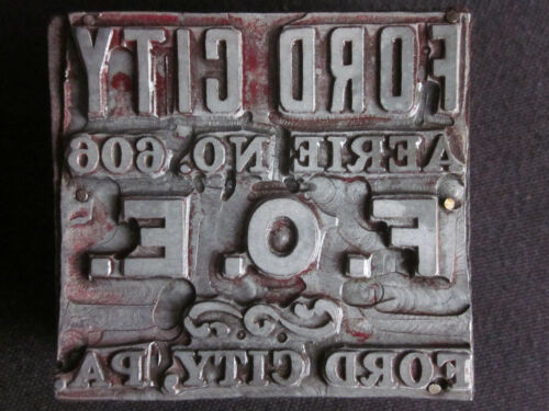 1910 FORD CITY Pa. Fraternal Order of EAGLES No. 606 Pewter Printers Block Stamp