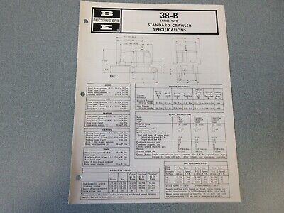 Rare Bucyrus-erie 38-b Crane Excavator Spec Information 1973