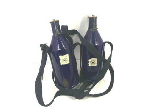 WW2 British Blue Cobalt Porcelain Water Canteen Bottle, 2 pack