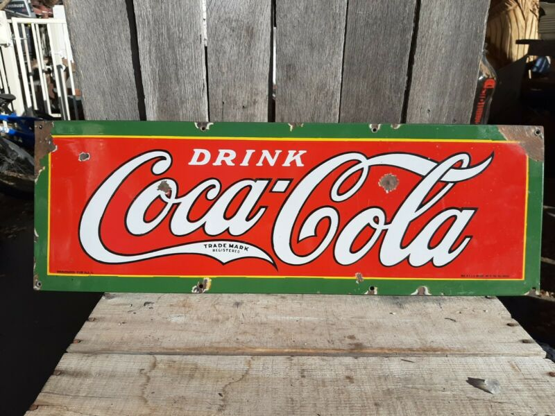 Vintage 1927 COCA COLA SODA POP GENERAL/STORE ADVERTISING PORCELAIN METAL SIGN