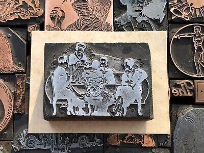 Antique Vtg Art Deco Women Men Dinner Letterpress Print Type Cut Ornament Block