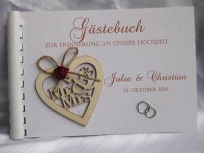 Gästebuch Hochzeit  Din A5  Holzherz