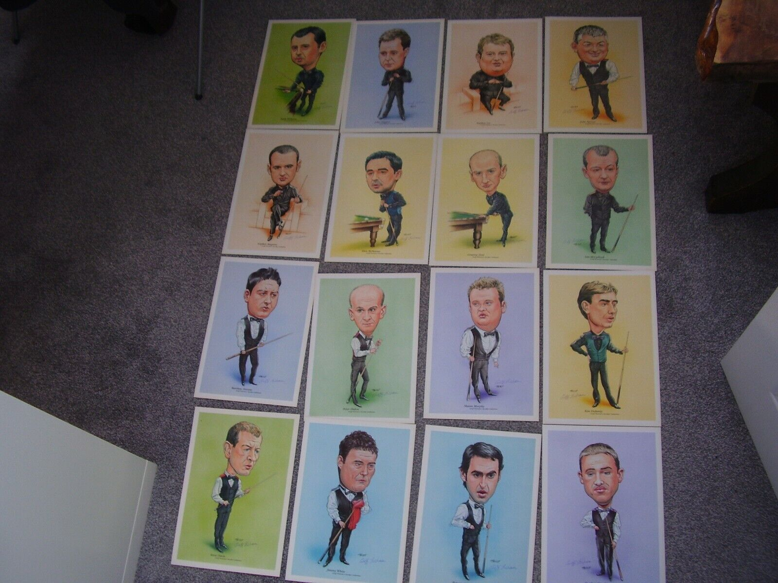 16 snooker player prints all signed by the artist,players inc o'sullivan,hendrie