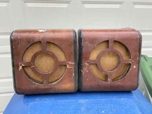 "Pair of Vintage 1940s 8"" Wood Speaker Cabinets Great Patina for Amp or Stereo"