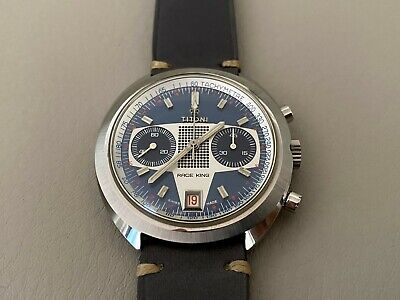 Vintage 1970s Titoni Race King Valjoux 7734 Chronograph Blue Dial Watch NOS