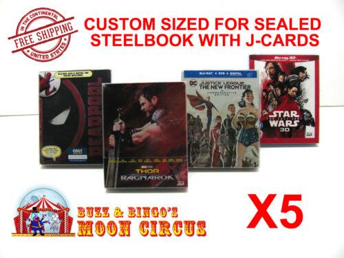 5x BLU-RAY STEELBOOK PROTECTIVE SLEEVE- BOX PROTECTORS- WITH J-CARD CUSTOM SIZE