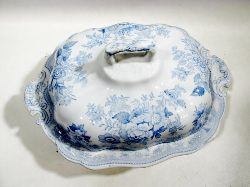 Antique Staffordshire Ironstone Asiatic Pheasant Blue Covered Casserole
