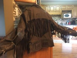 Bikers leather jacket with fringe