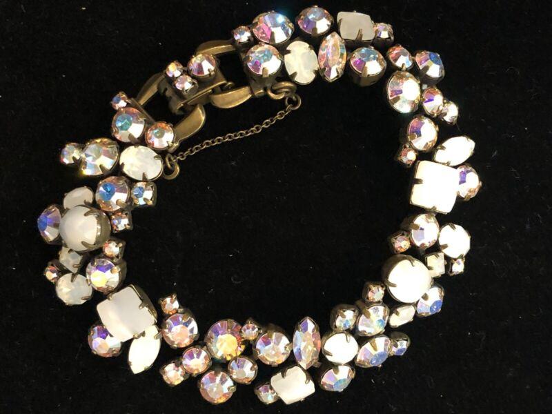 "Sorelli Opal and Aurora Borealis Crystal Bracelet in Antique Gold 8"""