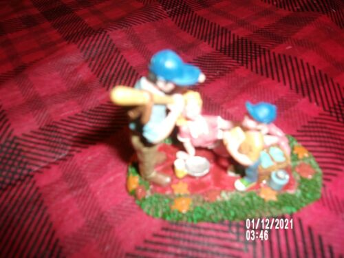 Lemax Figurine Afternoon Picnic Family playing Baseball
