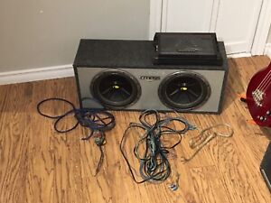 "Dual 10"" Kicker Subwoofers with Kicker Amp, Box and Cables"