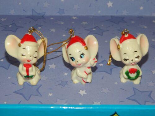 "Vintage Set of 3 Cute CHRISTMAS MICE ORNAMENTS Holiday Tree Decor 2"" Tall"