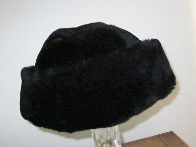 New Black Artisan Hand Crafted Lined Winter Fur Unisex Hat Plus Size