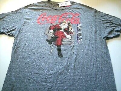 Coca Cola Mens size XL Graphic Santa Christmas T-shirt Short Sleeve Gray color