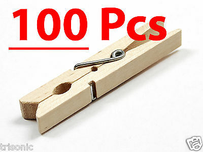 Cloth Pins (100 Pcs Wood Clothespins Wooden Laundry Clothes Pins Large Spring Regular)