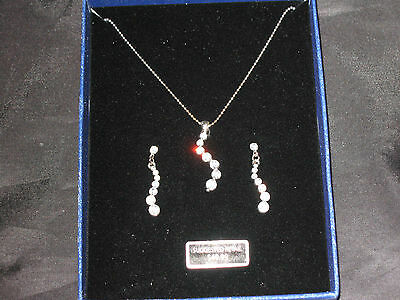 - Life's Journey Necklace Pierced Earrings Graduated Crystals Jewelry NEW!