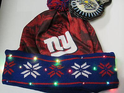 New York Giants BIG LOGO LED Light up Hat Winter Pom Beanie Stocking Knit Cap Big Logo Knit Cap