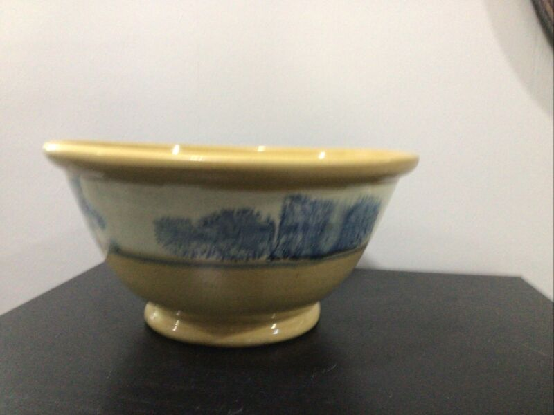 "Antique Mocha Ware Seaweed Yellow Ware Mixing Bowl 12"" Nice"