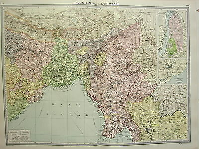 1920 LARGE MAP ~ INDIAN EMPIRE NORTH-EAST ~ BENGAL ORISSA BURMA ASSAM CALCUTTA